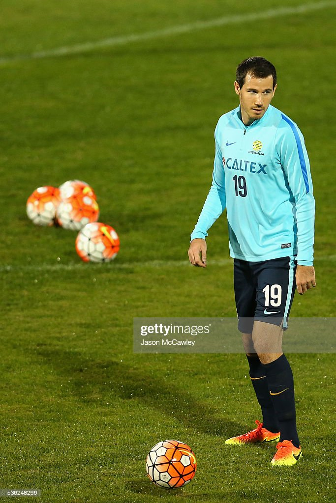 Ryan McGowan of the Socceroos watches on during an Australian Socceroos training session at Leichhardt Oval on June 1, 2016 in Sydney, Australia.