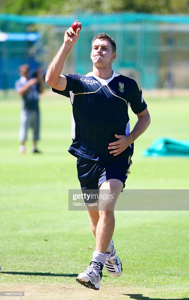 <a gi-track='captionPersonalityLinkClicked' href=/galleries/search?phrase=Ryan+McLaren&family=editorial&specificpeople=2227619 ng-click='$event.stopPropagation()'>Ryan McLaren</a> in action during the South African national cricket team training session, at Axxess St Georges on January 10, 2013 in Port Elizabeth, South Africa.
