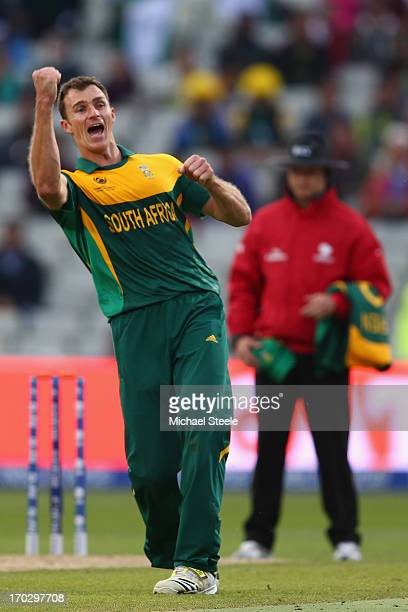 Ryan McLaren of South Africa celebrates taking the last wicket of Junaid Khan of Pakistan during the ICC Champions Trophy Group B match between...