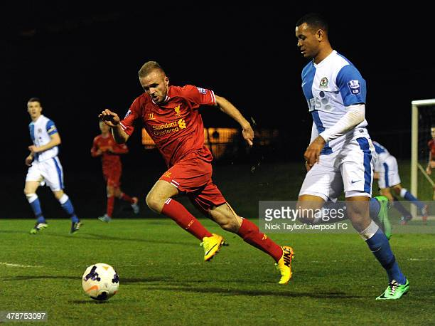 Ryan McLaughlin of Liverpool and Josh King of Blackburn Rovers in action during the Barclays Premier League Under 21 fixture between Liverpool and...