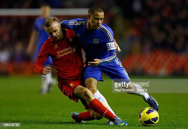 Ryan McLaughlin of Liverpool in action with Lewis Baker of Chelsea during the FA Youth Cup semi final first leg match between Liverpool and Chelsea...