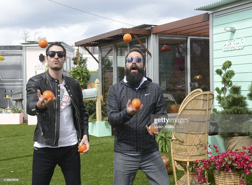 Ryan Merchant and Sebu Simonian of Capital Cities attend the Capital Cities Pop Up at Airbnb Park during SXSW March 14 2014 on March 14 2014 in...