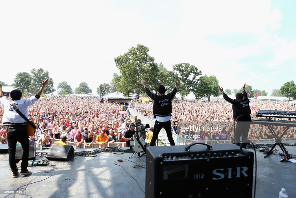 Ryan Merchant and Sebu Simonian of Capital Cities perform at Which Stage during day 4 of the 2014 Bonnaroo Arts And Music Festival on June 15 2014 in...