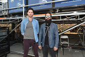 Ryan Merchant and Sebu Simonian of Capital Cities pose at the Drop Your Pants and Dance for Underwareness Concert hosted by Depend on August 6 2014...