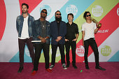 Ryan Merchant Channing Cook Holmes Sebu Simonian Manuel Quintero and Spencer Ludwig of Capital Cities attend the MTV Millennial Awards 2014 red...