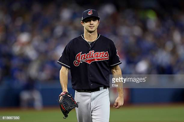 Ryan Merritt of the Cleveland Indians reacts after closing out the fourth inning against the Toronto Blue Jays during game five of the American...