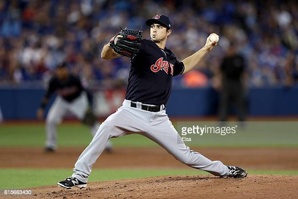 Ryan Merritt of the Cleveland Indians throws a pitch in the first inning against the Toronto Blue Jays during game five of the American League...