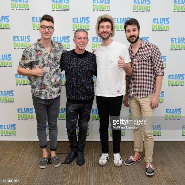 Ryan Met Elvis Duran Jack Met and Adam Met pose together for a photo during the band AJR's visit at 'The Elvis Duran Z100 Morning Show' at Elvis...