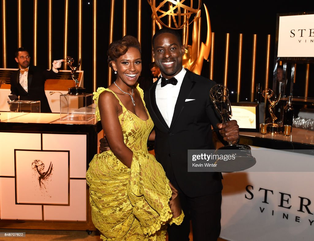 Ryan Michelle Bath (L)and actor Sterling K. Brown, winnerof the award for Outstanding Lead Actor in a Drama Series for 'This is Us', attend the 69th Annual Primetime Emmy Awards Governors Ball on September 17, 2017 in Los Angeles, California.