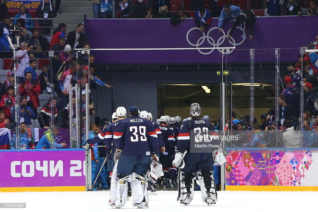 Ryan Miller #39 and Jonathan Quick #32 of the United States skate off the ice with their team after losing to Finland 5-0 during the Men's Ice Hockey Bronze Medal Game on Day 15 of the 2014 Sochi Winter Olympics at Bolshoy Ice Dome on February 22, 2014 in Sochi, Russia.