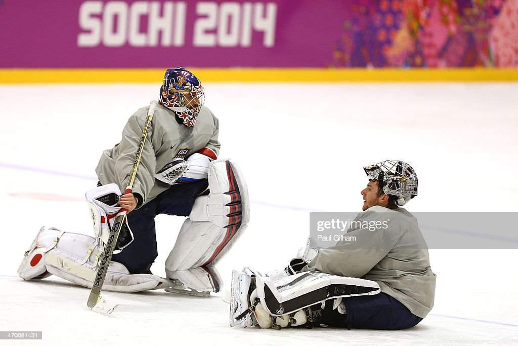 Ryan Miller #39 and Jonathan Quick #32 of the United States talk during their Men's Ice Hockey practice session on day thirteen of the Sochi 2014 Winter Olympics at Bolshoy Ice Dome on February 20, 2014 in Sochi, Russia.