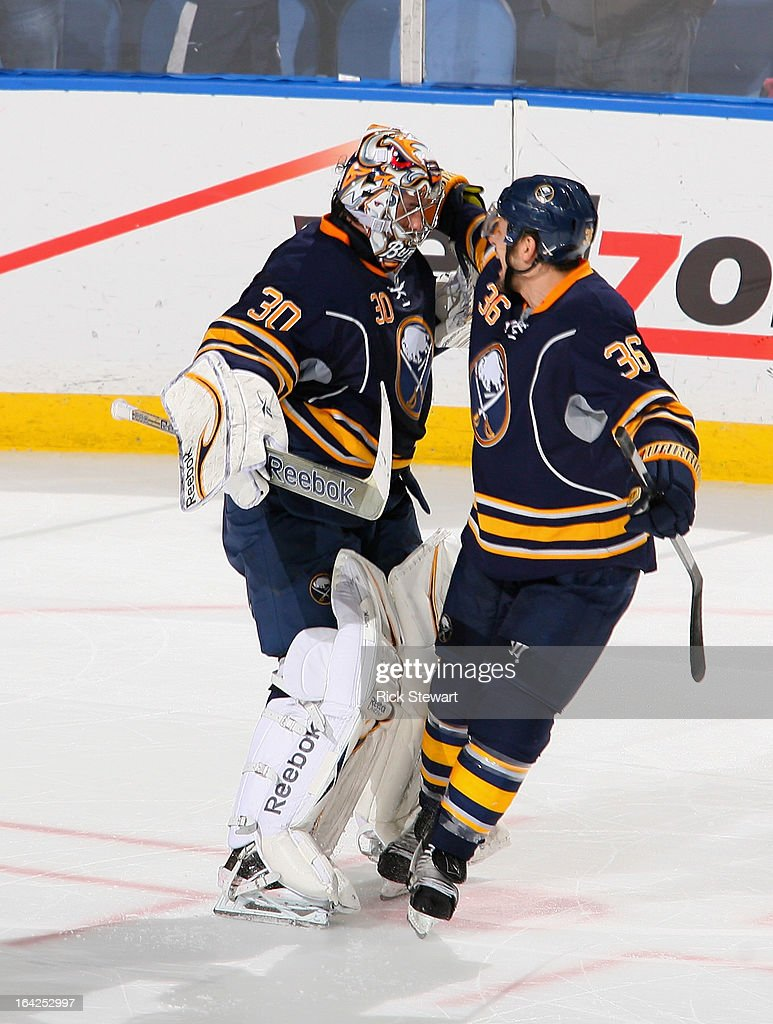 Ryan Miller #30 and <a gi-track='captionPersonalityLinkClicked' href=/galleries/search?phrase=Patrick+Kaleta&family=editorial&specificpeople=714513 ng-click='$event.stopPropagation()'>Patrick Kaleta</a> #36 of the Buffalo Sabres celebrate a win against the Toronto Maple Leafs at First Niagara Center on March 21, 2013 in Buffalo, United States.Buffalo won 5-4 in a shootout.