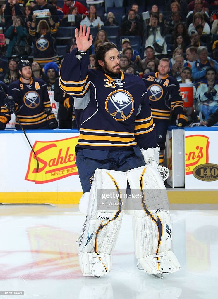 Ryan Miller #30 of the Buffalo Sabres acknowledges the crowd prior to receiving the team's most valuable player award in his 500th career NHL game against the New York Islanders on April 26, 2013 at the First Niagara Center in Buffalo, New York.