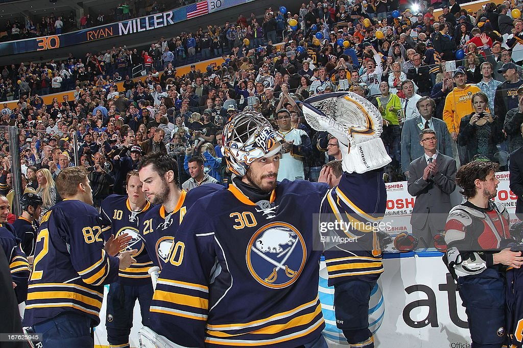 Ryan Miller #30 of the Buffalo Sabres acknowledges the fans after a 2-1 victory over the New York Islanders on April 26, 2013 at the First Niagara Center in Buffalo, New York. Miller played in his 500th career NHL game.