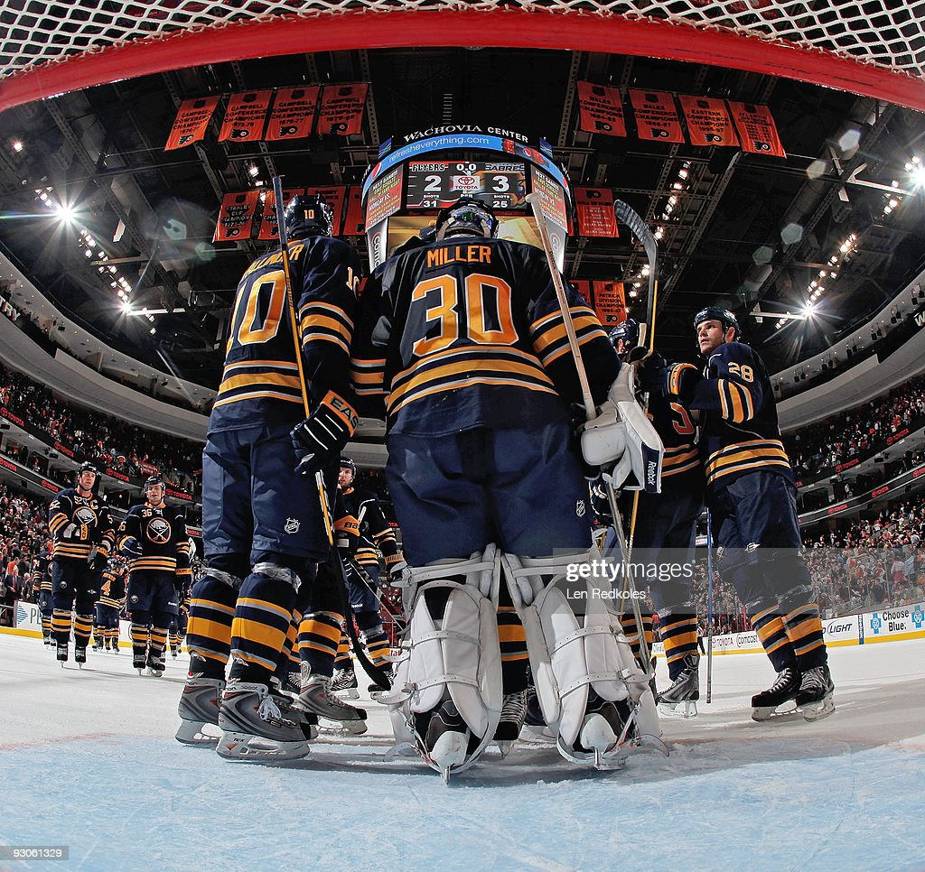 Ryan Miller of the Buffalo Sabres celebrates with his team their 32 win over the Philadelphia Flyers on November 14 2009 at the Wachovia Center in...