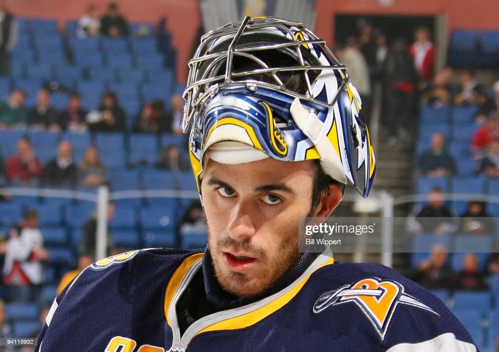 Ryan Miller of the Buffalo Sabres concentrates before playing the Montreal Canadiens on December 3 2009 at HSBC Arena in Buffalo New York