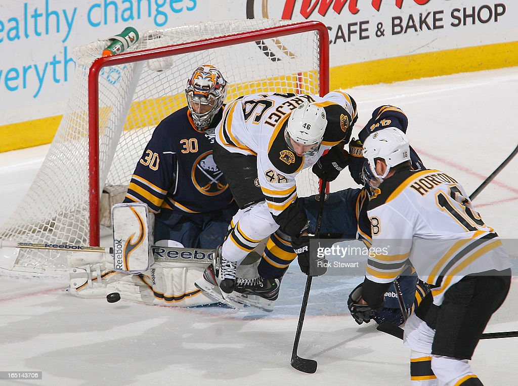 Ryan Miller #30 of the Buffalo Sabres defends against <a gi-track='captionPersonalityLinkClicked' href=/galleries/search?phrase=David+Krejci&family=editorial&specificpeople=722556 ng-click='$event.stopPropagation()'>David Krejci</a> #46 of the Boston Bruins at First Niagara Center on March 31, 2013 in Buffalo, New York. Boston won 2-0.