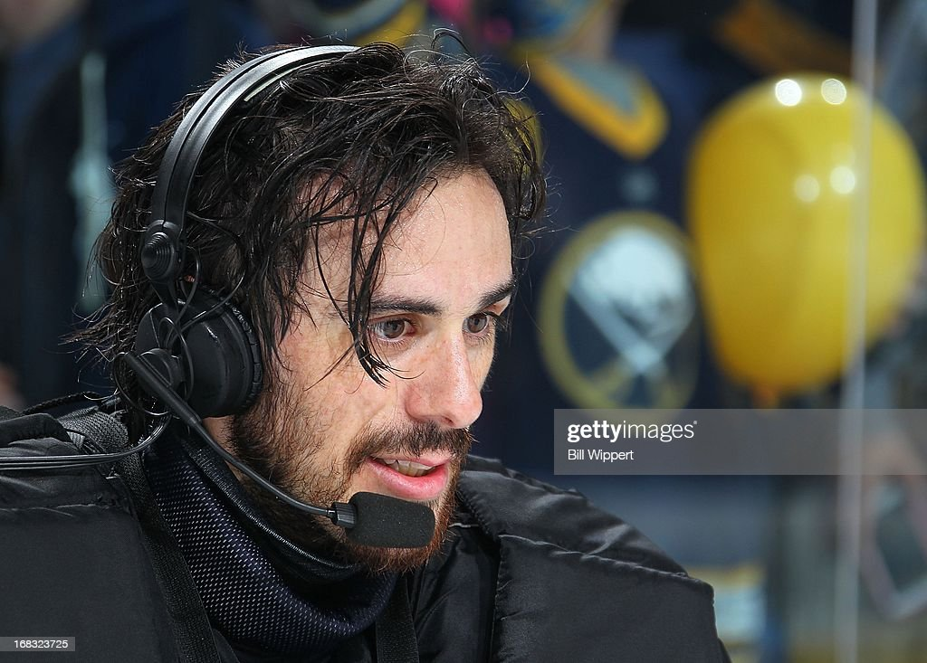 Ryan Miller #30 of the Buffalo Sabres does a television interview following their final game of the season against the New York Islanders on April 26, 2013 at the First Niagara Center in Buffalo, New York.