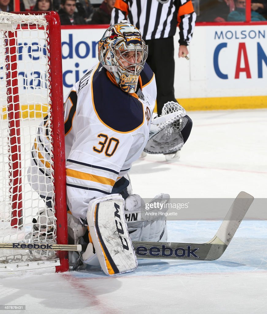 Ryan Miller #30 of the Buffalo Sabres guards his net against the Ottawa Senators at Canadian Tire Centre on December 12, 2013 in Ottawa, Ontario, Canada.
