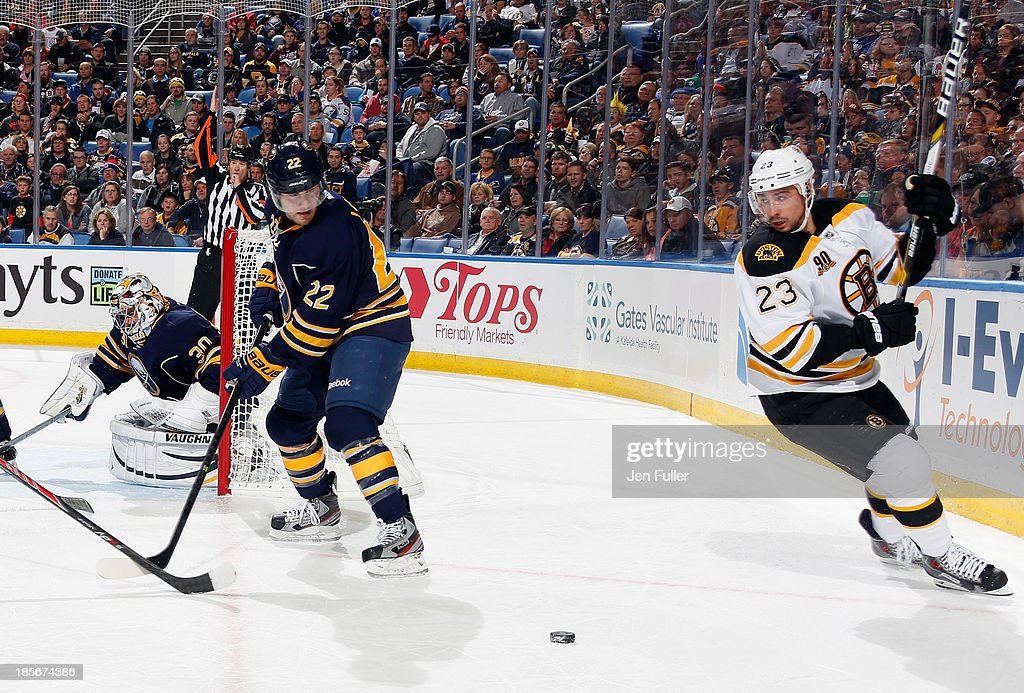 Ryan Miller #30 of the Buffalo Sabres guards the net as teammate Johan Larsson #22 and Chris Kelly #23 of the Boston Bruins skate to the puck at First Niagara Center on October 23, 2013 in Buffalo, New York.
