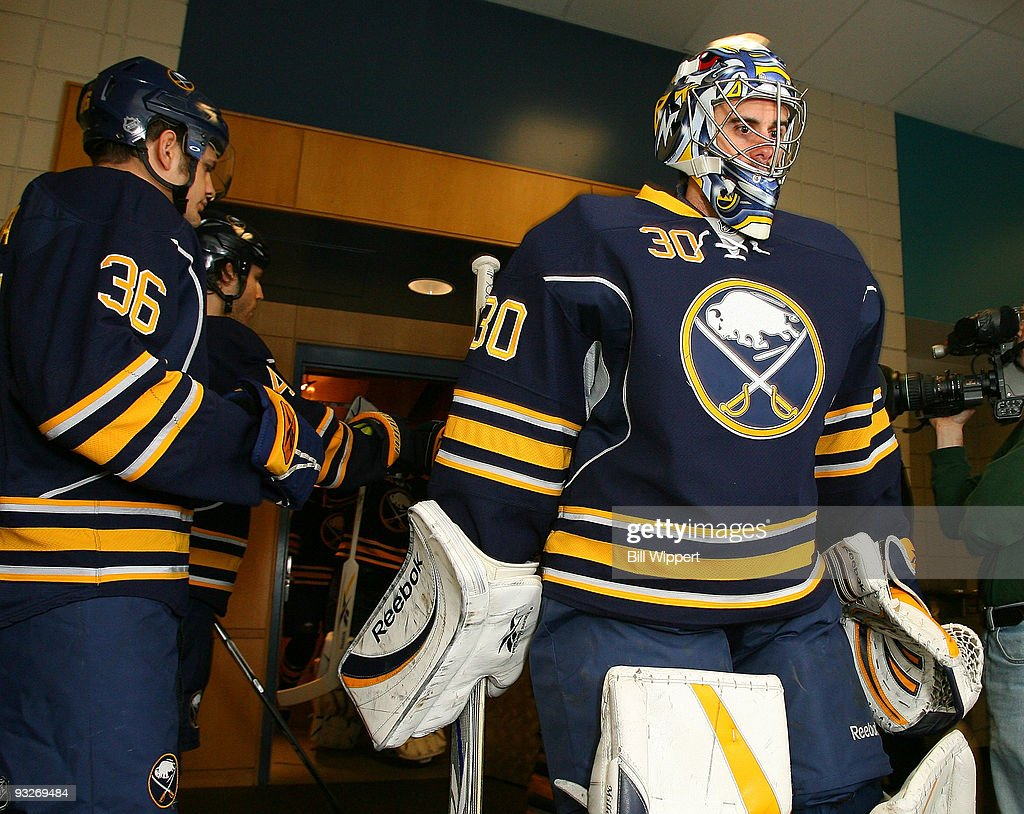 Ryan Miller of the Buffalo Sabres heads to the ice to play the Boston Bruins on November 20 2009 at HSBC Arena in Buffalo New York