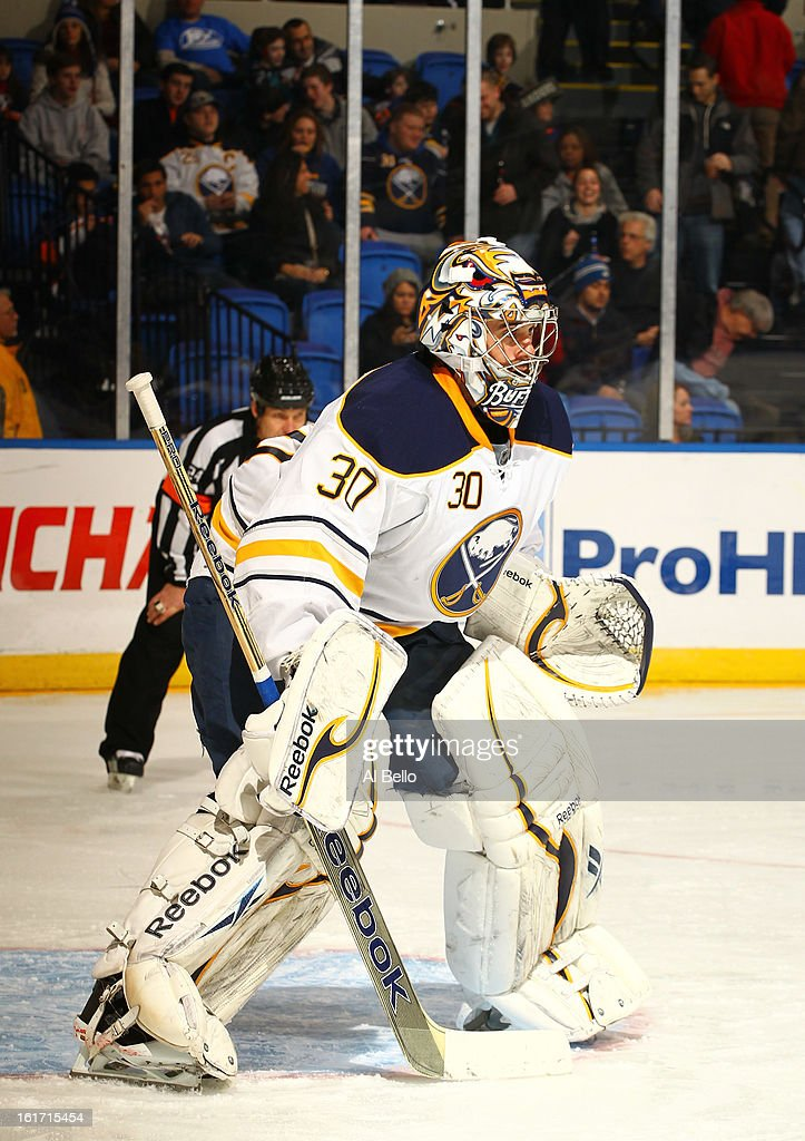 Ryan Miller #30 of the Buffalo Sabres in action against the New York Islanders during their game at Nassau Veterans Memorial Coliseum on February 9, 2013 in Uniondale, New York.