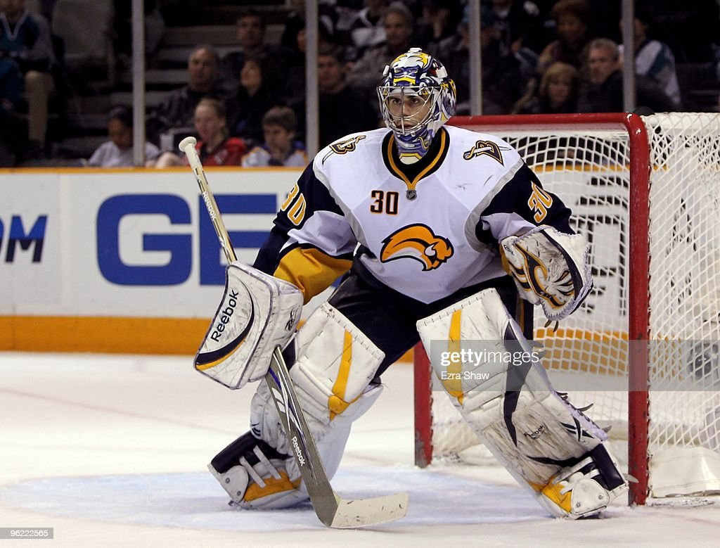 Ryan Miller #30 of the Buffalo Sabres in action during their game against the San Jose Sharks at HP Pavilion on January 23, 2010 in San Jose, California.