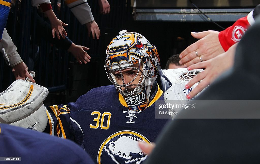 Ryan Miller #30 of the Buffalo Sabres is greeted by fans before playing the Winnipeg Jets on April 22, 2013 at the First Niagara Center in Buffalo, New York.