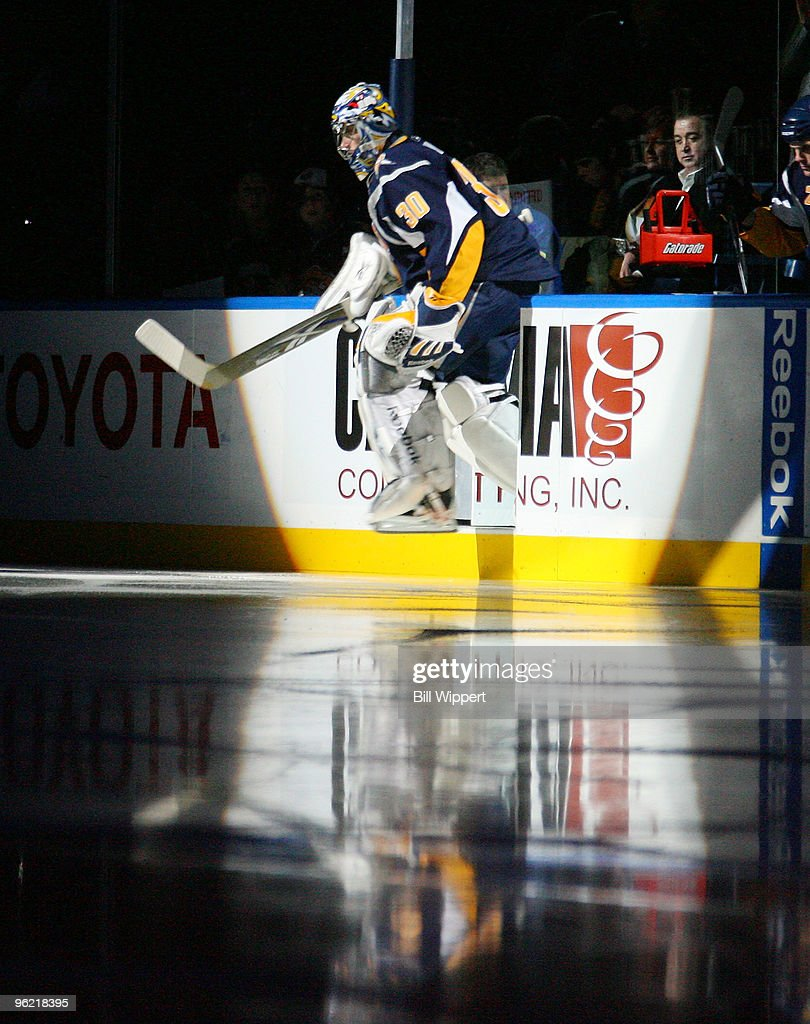 Ryan Miller of the Buffalo Sabres leads his team onto the ice to play the New Jersey Devils on January 27 2010 at HSBC Arena in Buffalo New York