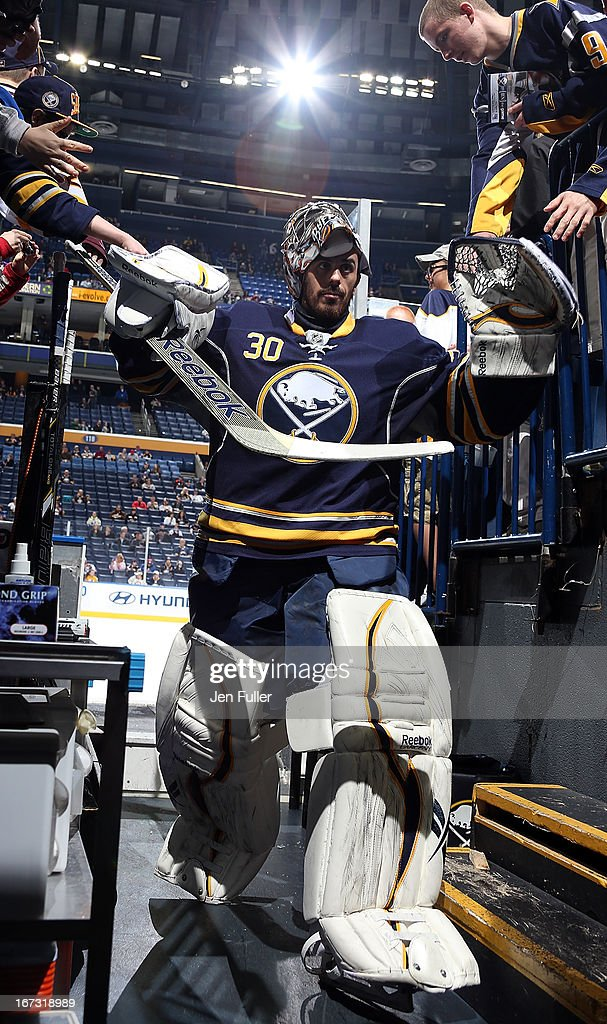 Ryan Miller #30 of the Buffalo Sabres leaves the ice after warming up to play the New York Rangers at First Niagara Center on April 19, 2013 in Buffalo, United States.