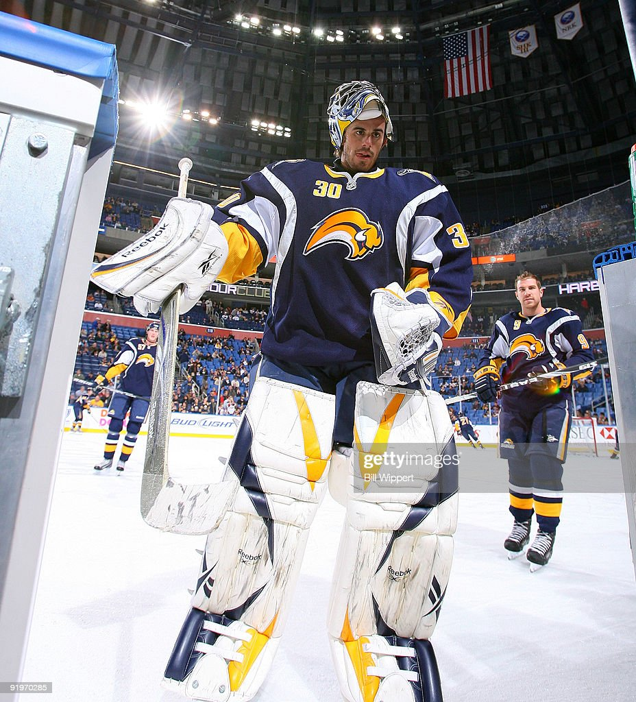 Ryan Miller of the Buffalo Sabres leaves the ice after warming up to play the Atlanta Thrashers on October 17 2009 at HSBC Arena in Buffalo New York