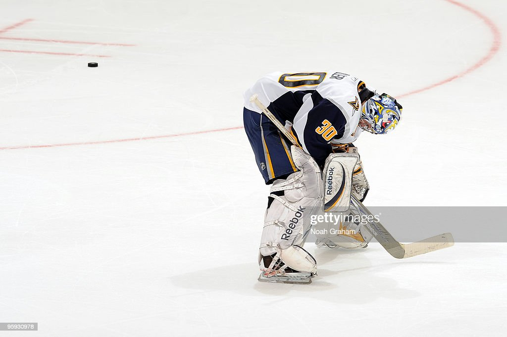 Ryan Miller #30 of the Buffalo Sabres looks dejected after being defeated by the Los Angeles Kings on January 21, 2010 at Staples Center in Los Angeles, California.