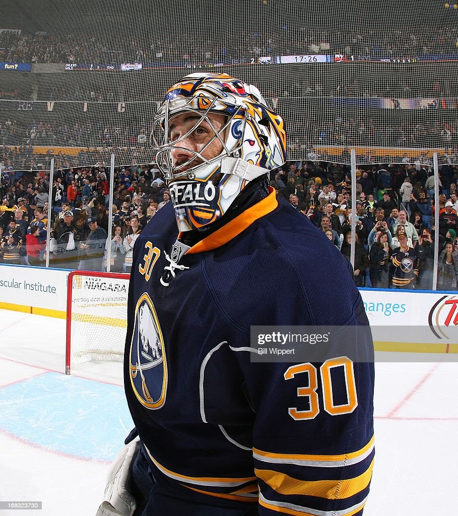 Ryan Miller #30 of the Buffalo Sabres looks up to the scoreboard following their final game of the season against the New York Islanders on April 26, 2013 at the First Niagara Center in Buffalo, New York.
