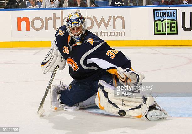 Ryan Miller of the Buffalo Sabres makes a pad save against the New York Islanders on October 16 2009 at HSBC Arena in Buffalo New York