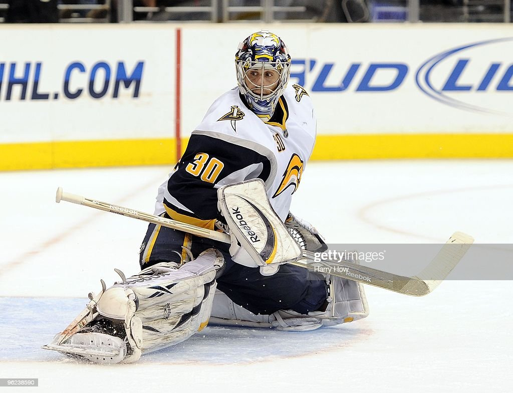 Ryan Miller #30 of the Buffalo Sabres makes a save against the Los Angeles Kings during the game at the Staples Center on January 21, 2010 in Los Angeles, California.