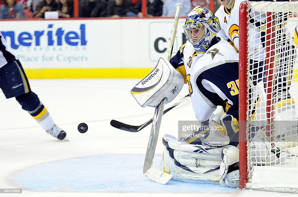 Ryan Miller of the Buffalo Sabres makes a save against the Washington Capitals at the Verizon Center on November 25 2009 in Washington DC