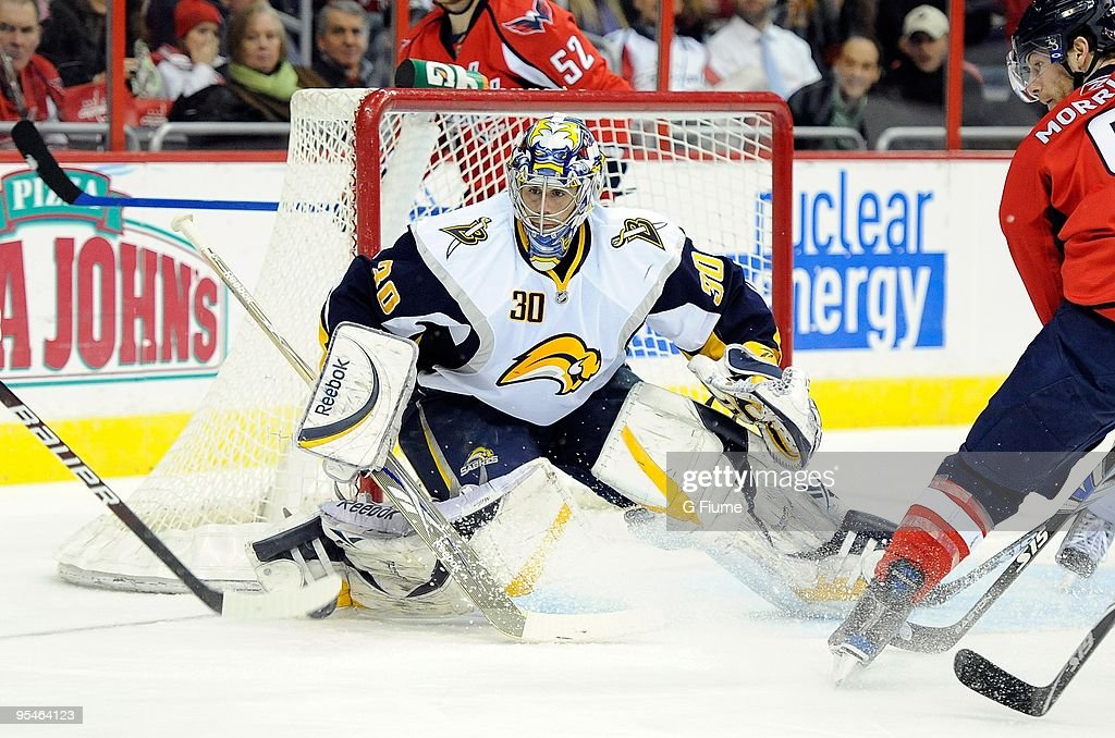 Ryan Miller of the Buffalo Sabres makes a save against the Washington Capitals at the Verizon Center on December 23 2009 in Washington DC