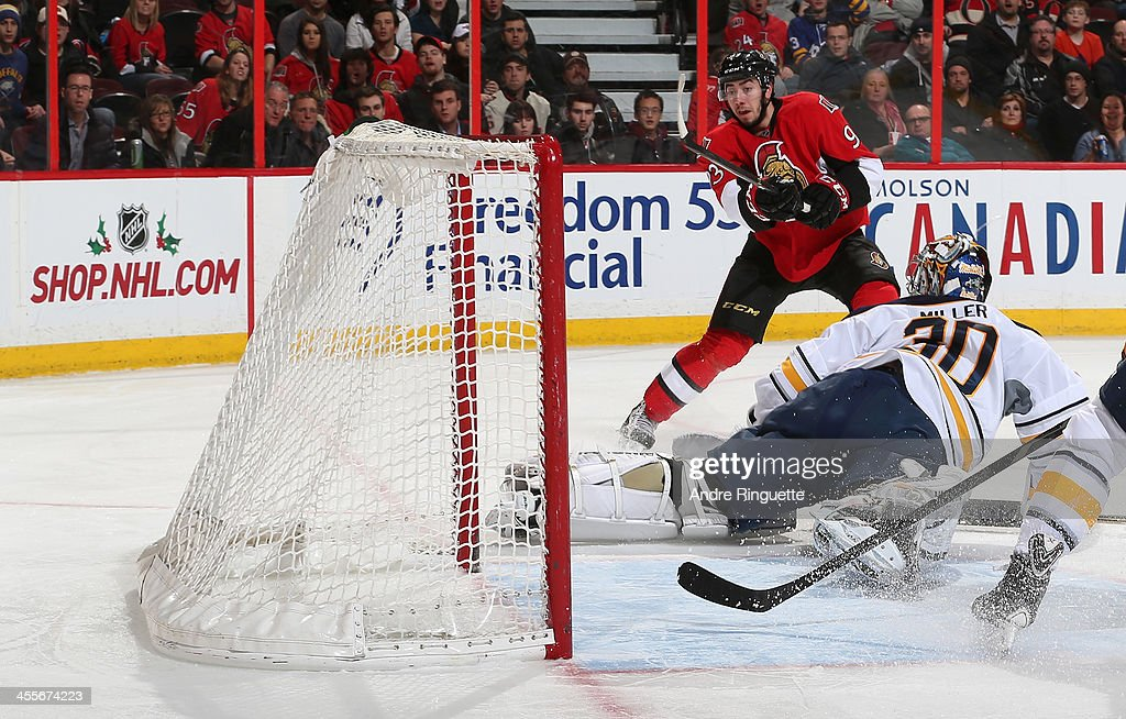 Ryan Miller #30 of the Buffalo Sabres makes a toe save on a scoring chance by <a gi-track='captionPersonalityLinkClicked' href=/galleries/search?phrase=Mika+Zibanejad&family=editorial&specificpeople=7832310 ng-click='$event.stopPropagation()'>Mika Zibanejad</a> #93 of the Ottawa Senators at Canadian Tire Centre on December 12, 2013 in Ottawa, Ontario, Canada.
