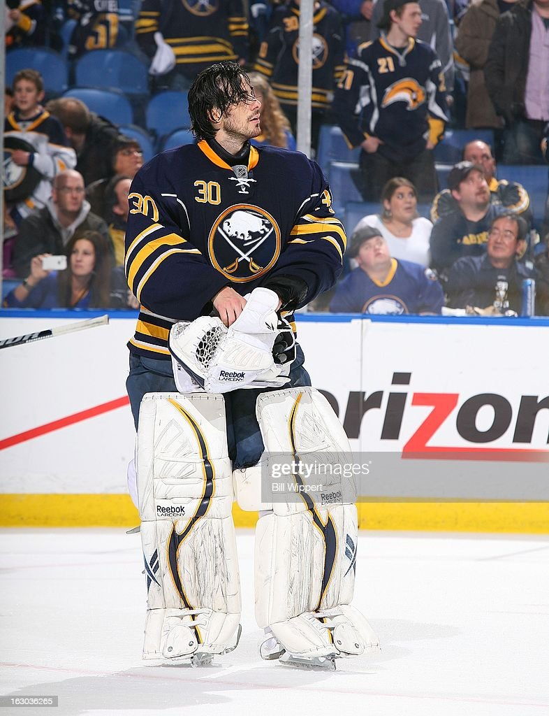Ryan Miller #30 of the Buffalo Sabres reacts after a brief altercation against the New York Islanders on February 23, 2013 at the First Niagara Center in Buffalo, New York.