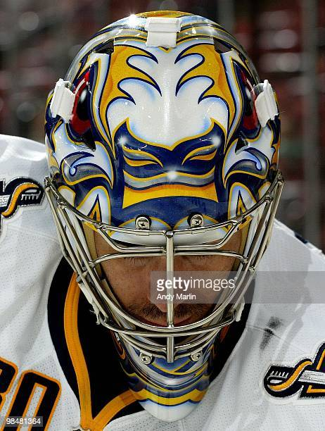 Ryan Miller of the Buffalo Sabres skates during warmups prior to the start of the game against the New Jersey Devils during the game at the...