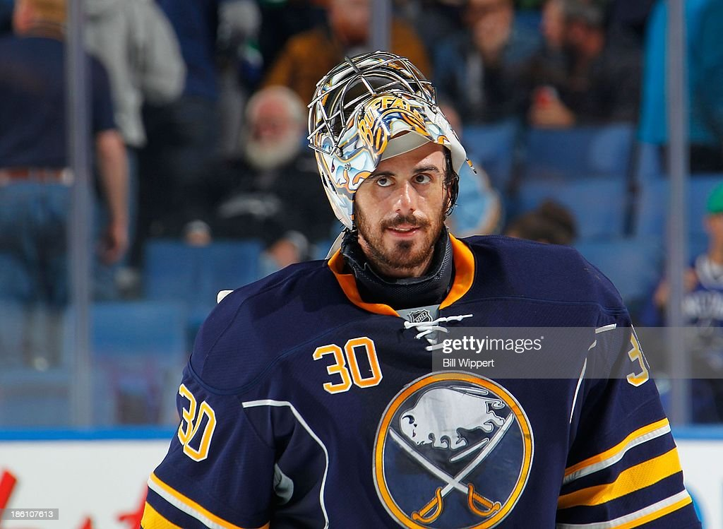 Ryan Miller #30 of the Buffalo Sabres skates off the ice in a game against the Vancouver Canucks on October 17, 2013 at the First Niagara Center in Buffalo, New York.