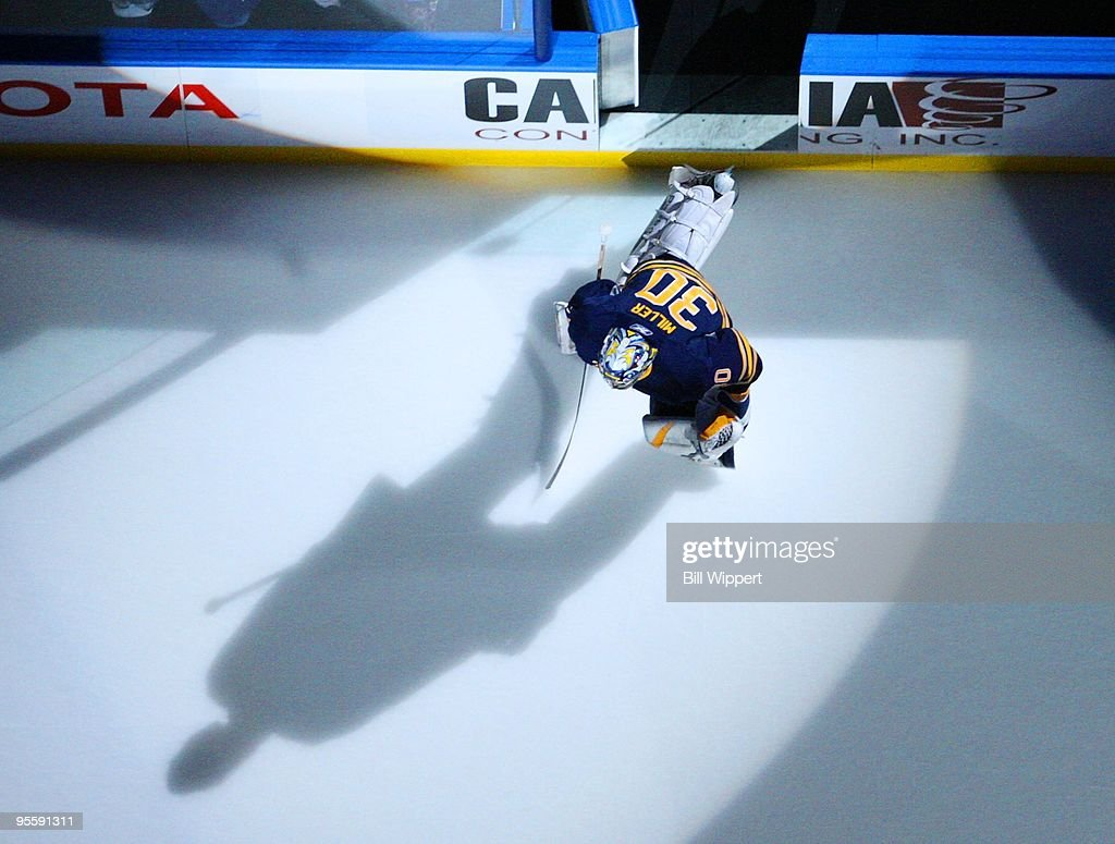 Ryan Miller of the Buffalo Sabres skates onto the ice to play the Pittsburgh Penguins on December 29 2009 at HSBC Arena in Buffalo New York