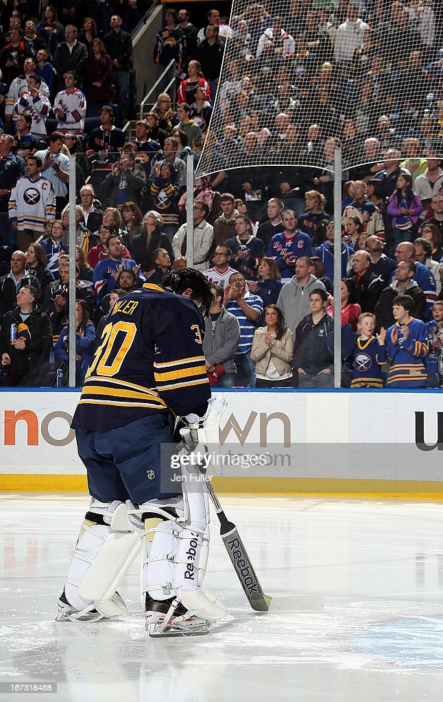 Ryan Miller #30 of the Buffalo Sabres stands during the anthems prior to the game against the New York Rangers at First Niagara Center on April 19, 2013 in Buffalo, United States.