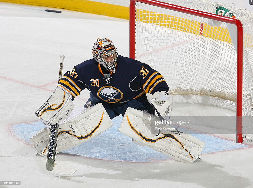 Ryan Miller #30 of the Buffalo Sabres stands in goal against the Toronto Maple Leafs at First Niagara Center on March 21, 2013 in Buffalo, United States.Buffalo won 5-4 in a shootout.