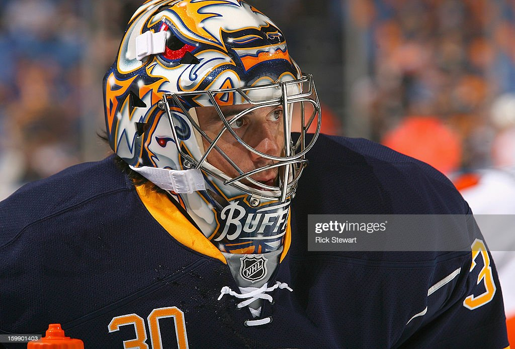 Ryan Miller #30 of the Buffalo Sabres stands on the ice during pregame warm-ups prior to playing the Philadelphia Flyersat First Niagara Center on January 20, 2013 in Buffalo, New York. Buffalo won 5-2.
