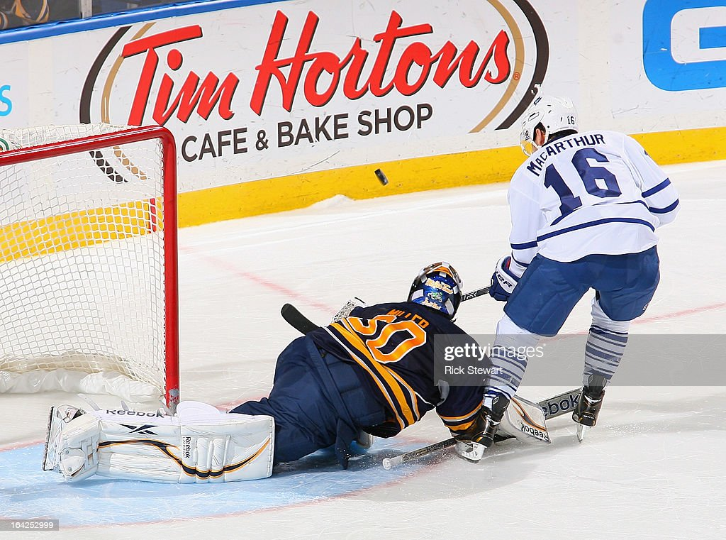 Ryan Miller #30 of the Buffalo Sabres stops Clarke MacArthur #16 of the Toronto Maple Leafs on the last shot of the shootout at First Niagara Center on March 21, 2013 in Buffalo, United States.Buffalo won 5-4 in a shootout.