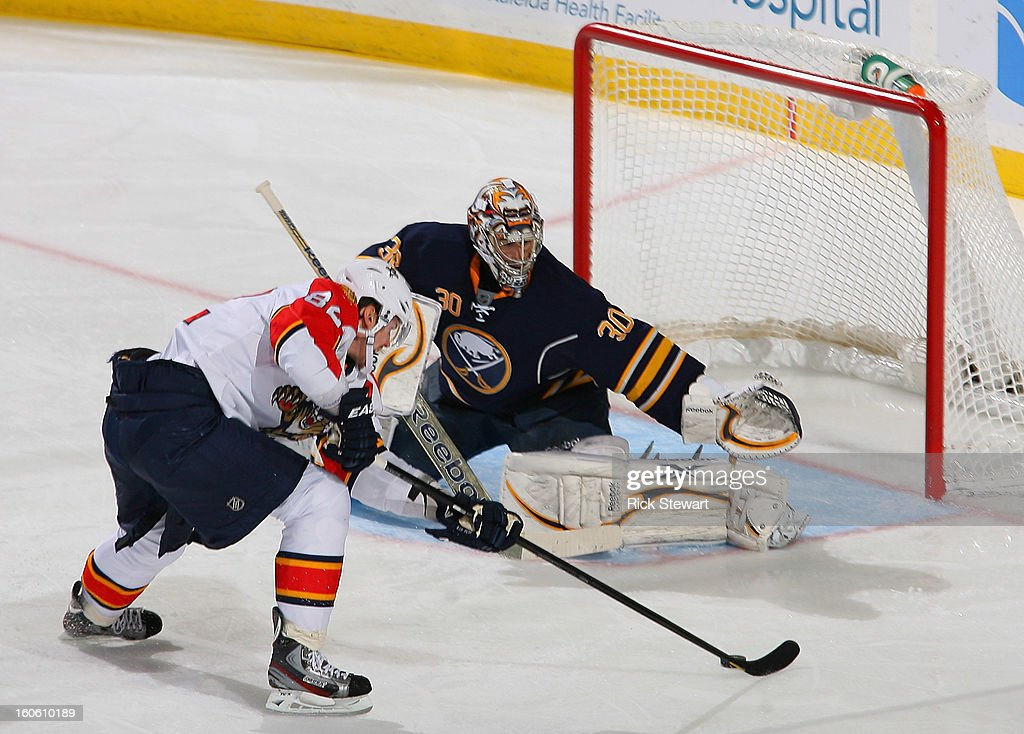 Ryan Miller #30 of the Buffalo Sabres stops Tomas Kopecky #82 of the Florida Panthers on a breakaway in the second period at First Niagara Center on February 3, 2013 in Buffalo, New York.