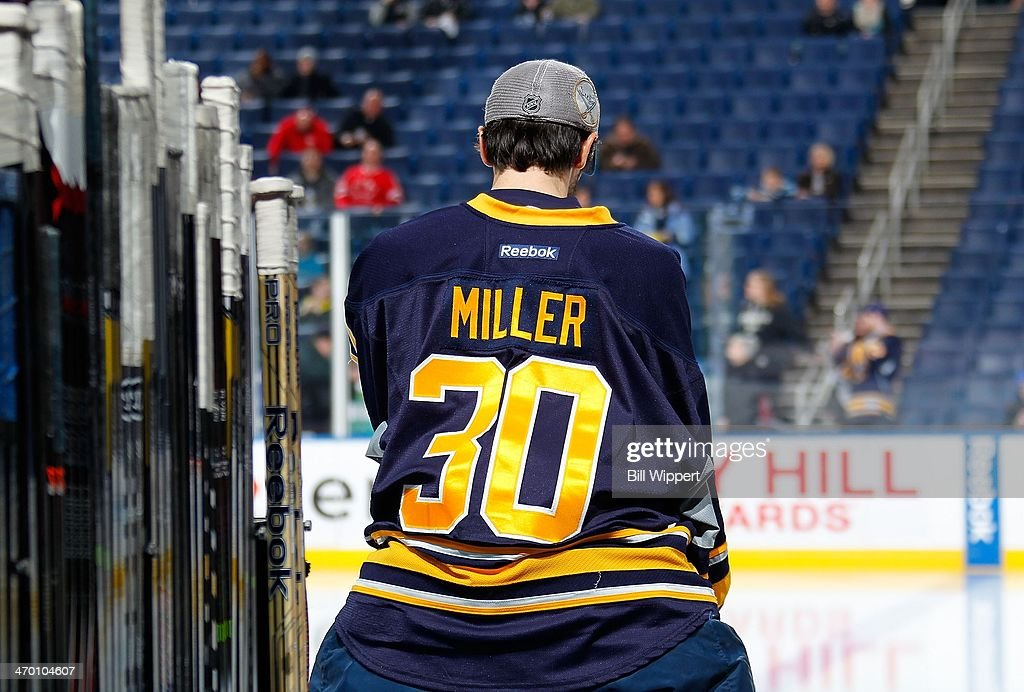 Ryan Miller #30 of the Buffalo Sabres takes a moment on the bench before a game against the Pittsburgh Penguins on February 5, 2014 at the First Niagara Center in Buffalo, New York.