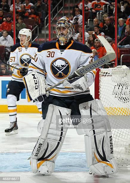Ryan Miller of the Buffalo Sabres tends goal against the Philadelphia Flyers on November 21 2013 at the Wells Fargo Center in Philadelphia...