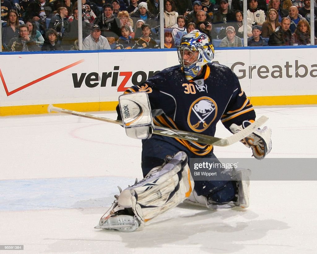 Ryan Miller of the Buffalo Sabres tends goal against the Pittsburgh Penguins on December 29 2009 at HSBC Arena in Buffalo New York
